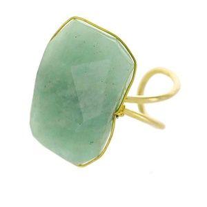 Rectangular Stone Ring- Amazonite